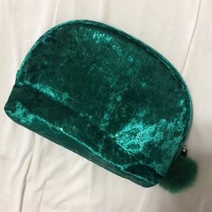 Emerald Green Velvet Makeup Bag